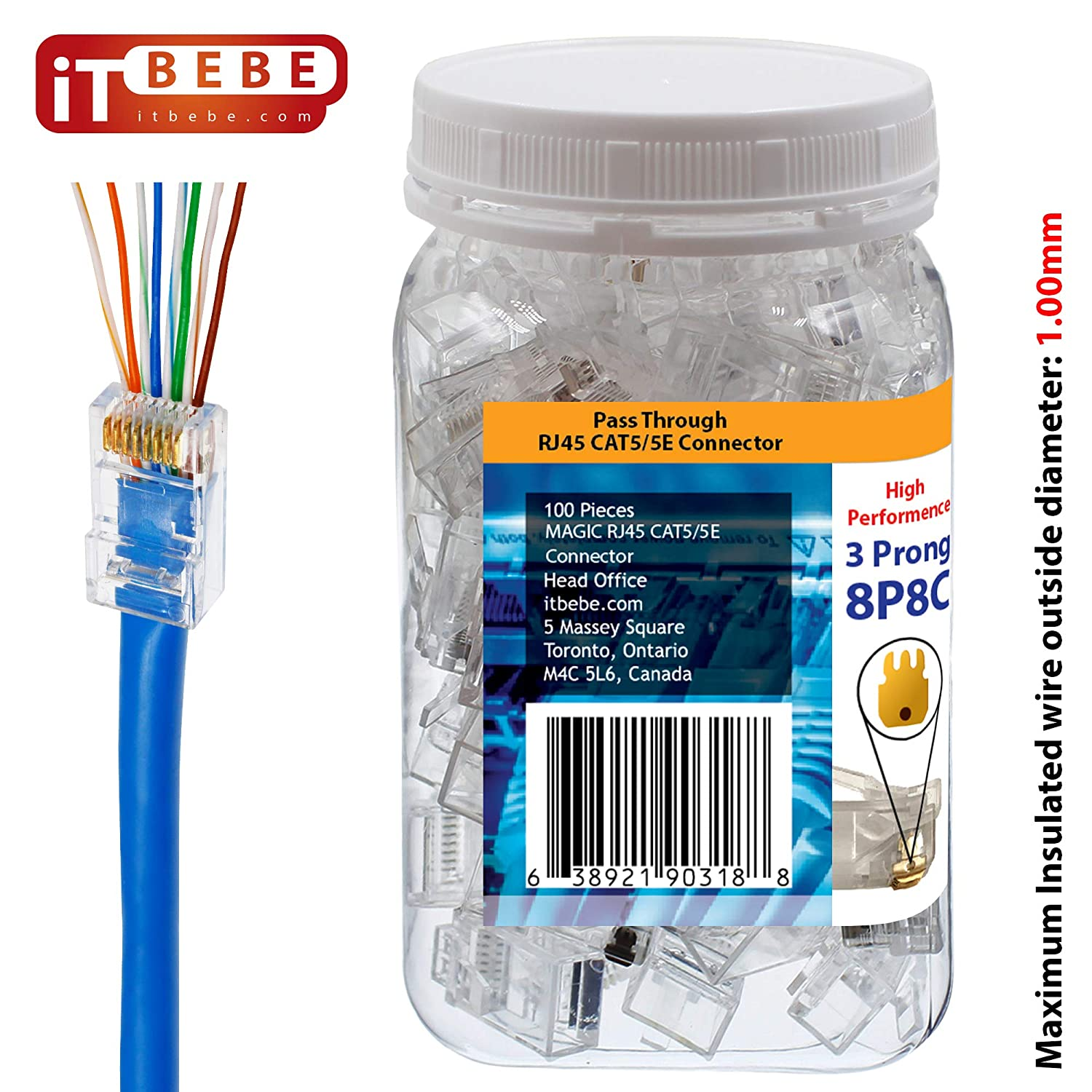 Gold Plated EZ RJ45 Cat5e Connector by itbebe Connector Cat5 cat5e 100 Pieces