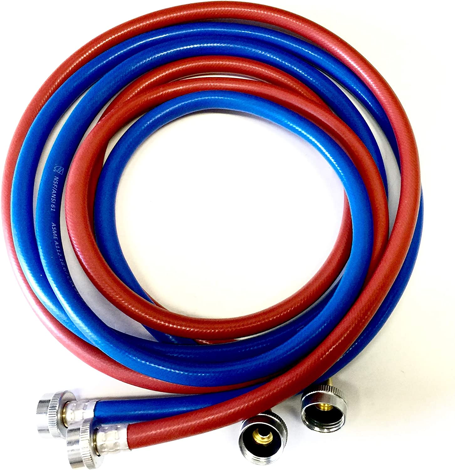 2-Pack PVC and Inside Nylon Braided Premium Washer Hoses - 6FT Lead Free Burst Proof Red and Blue Colored Water Inlet Supply Lines - Universal 90 Degree Elbow Connection