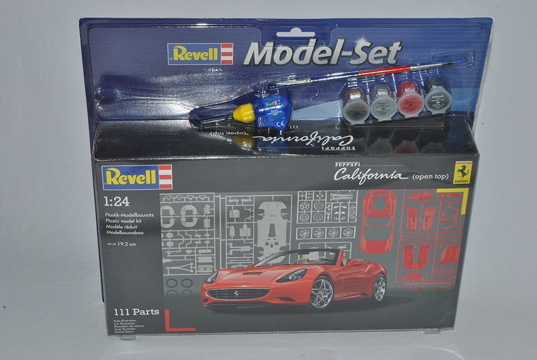 Revell Ferrari California Cabrio Rot Offen 07276 mit Farben Pinsel und Leim Bausatz Kit 1//24 Modell Auto mit individiuellem Wunschkennzeichen