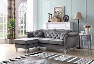 Glory Furniture Hollywood Reversible Sectional, Dark Gray