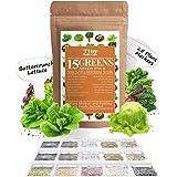 15 Heirloom Lettuce & Leafy Vegetable Seeds   4000+ Seeds   Non GMO Bulk Lettuce Seeds for Planting - Kale, Spinach…