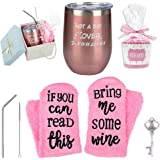 12 oz Stainless Steel Wine Glass Tumbler with Lid & Gift Box + Cupcake Wine Socks Gift Set   Double Wall Vacuum Insulated Stemless Wine Tumbler with Straw, Perfect Gift for Women (Rose Gold)