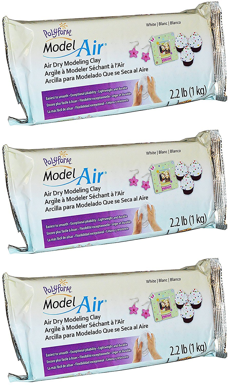 Polyform Sculpey Model Air White Dry Clay - Easy to Smooth, Lightweight, Durable - Ideal for Kids, Crafts, and Jewelry Projects - 2.2 Pounds, Pack of 3