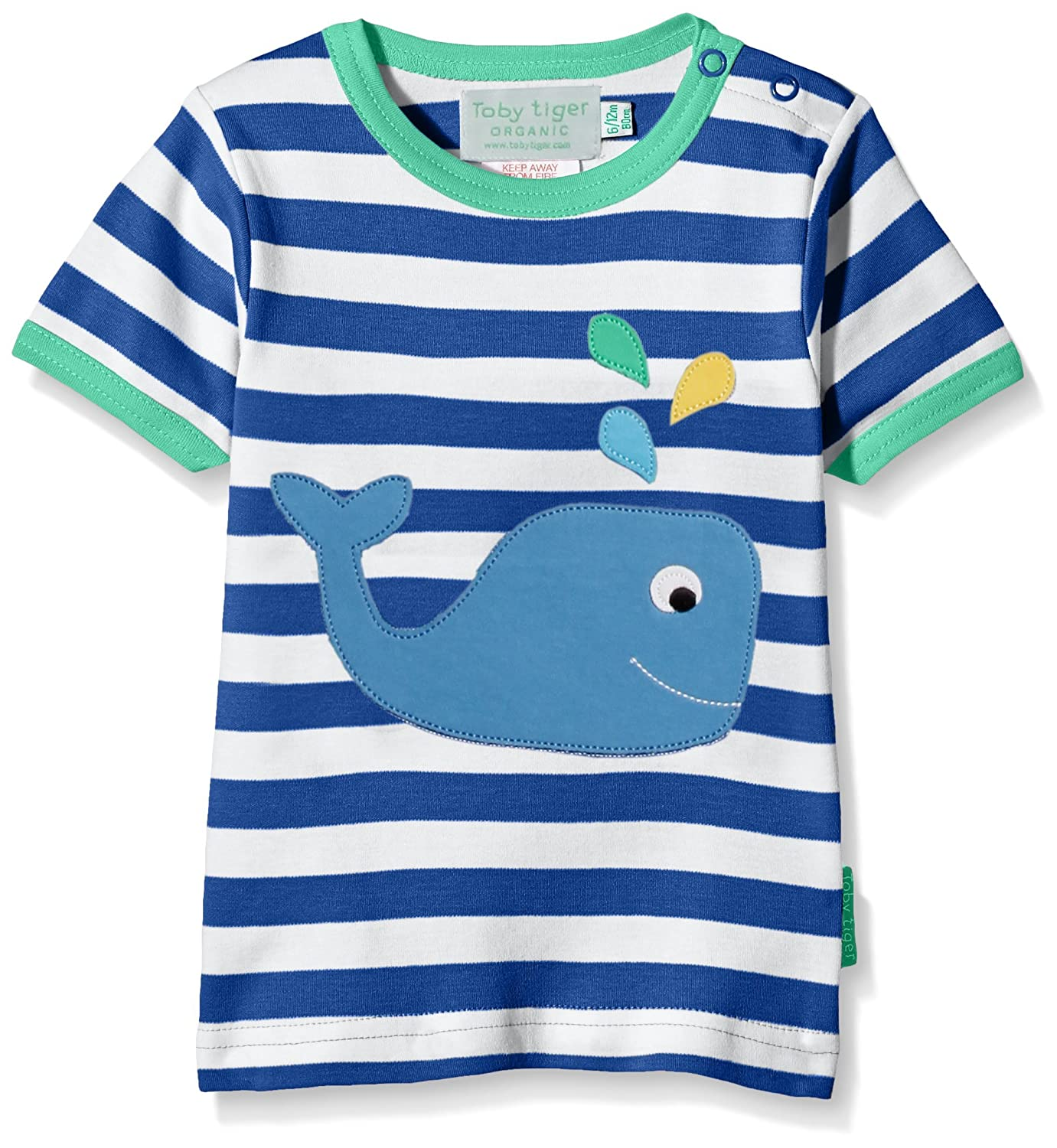 Toby Tiger Organic Cotton Whale Applique Short Sleeved T-Shirt
