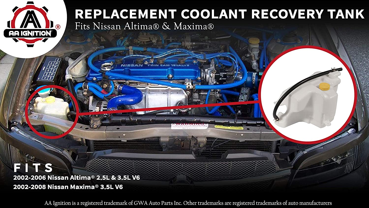 Engine Coolant Recovery 2.5L 3.5L compatible with 07-13 ALTIMA 09-14 MAXIMA