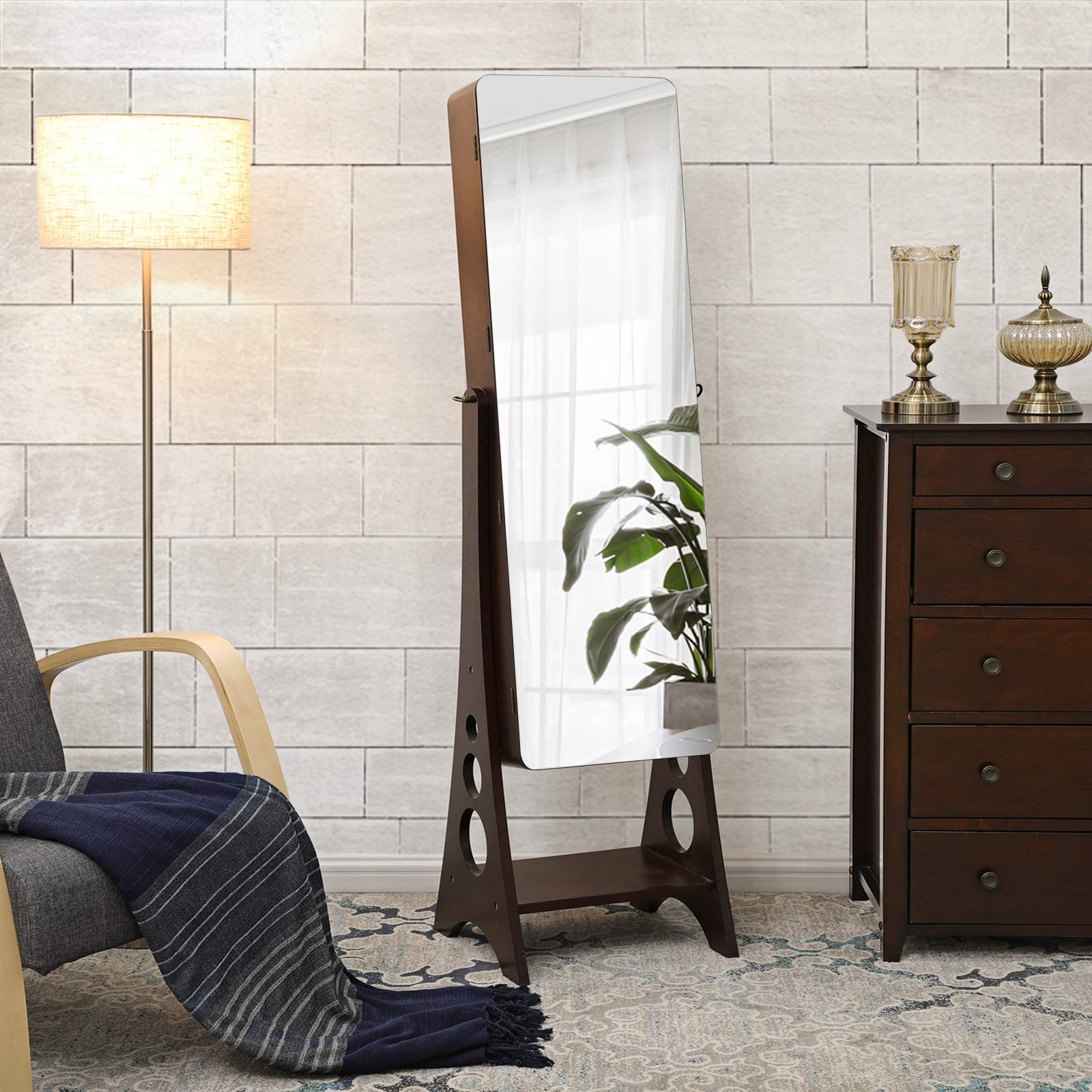 SONGMICS 8 LEDs Jewelry Cabinet Armoire with Beveled Edge Mirror, Gorgeous Jewelry Organizer Large Capacity Brown Patented UJJC89K by SONGMICS (Image #2)