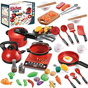 Kids Pretend Play Kitchen Toys Kitchen Cooking Set with Cookware Pots and Pans Set, Cutting Food,Kitchen Utensils, Induction Cooker w/ Sound&Light, Toy Kitchen Accessories Playset for Girls Toddlers.