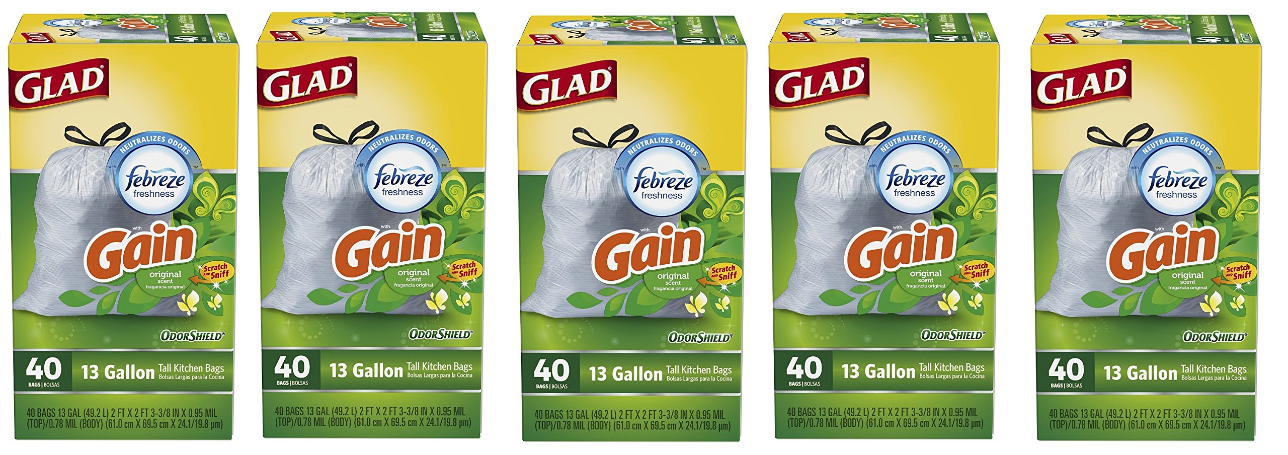 Glad OdorShield Tall Kitchen Drawstring Trash Bags aYJNqy, Gain Original, 200 Count