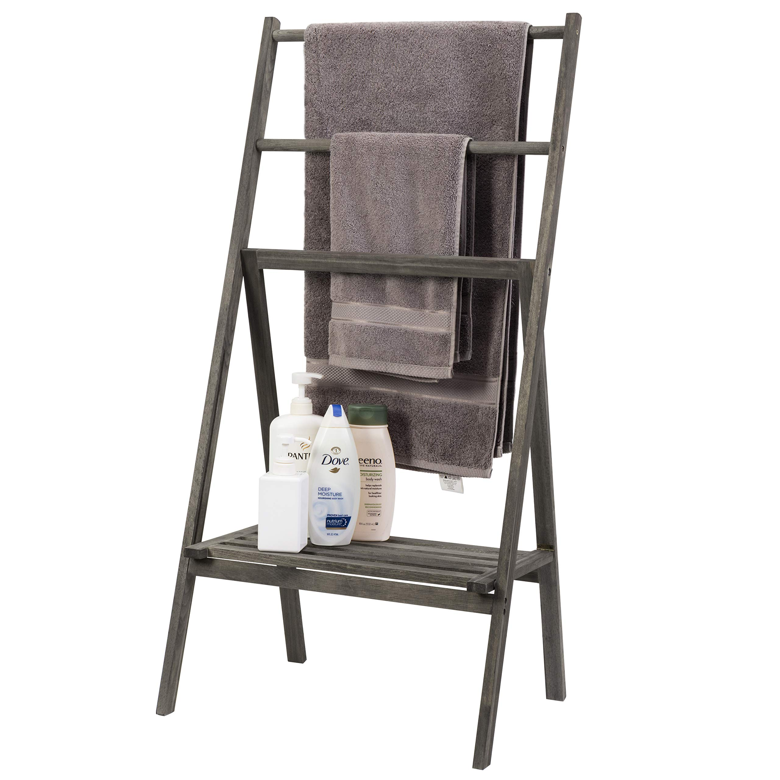 MyGift Vintage Grey Wood Folding Towel Stand with Lower Shelf by MyGift