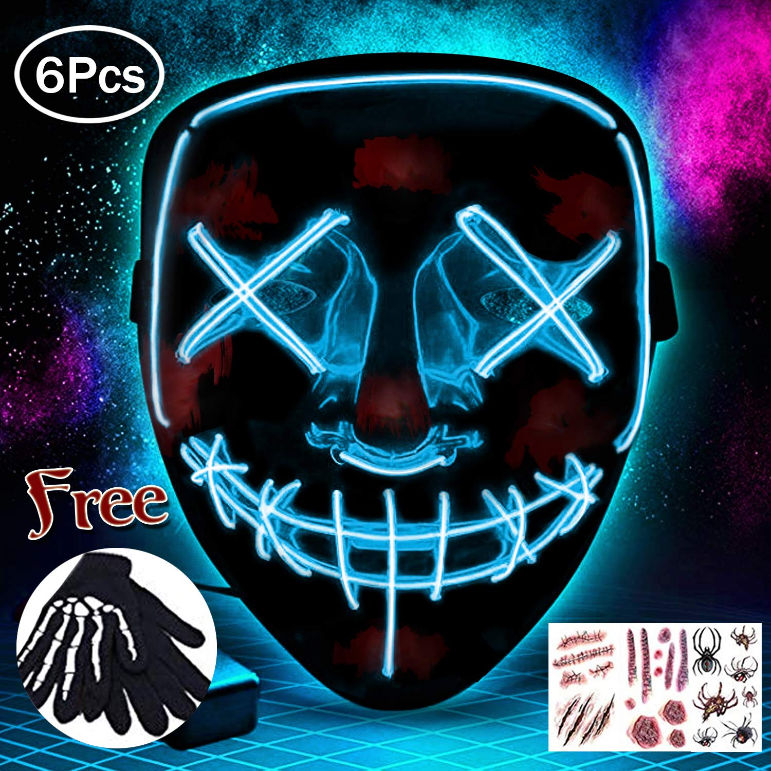 Halloween Masks Festival Party Cosplay LED Light Up Mask Carnival Mask Halloween Accessories Grimace Mask Battery Powered blue Not Included