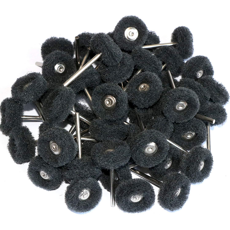 50 Almohadillas De Estropajo Pulido Negro Vástago De 3mm