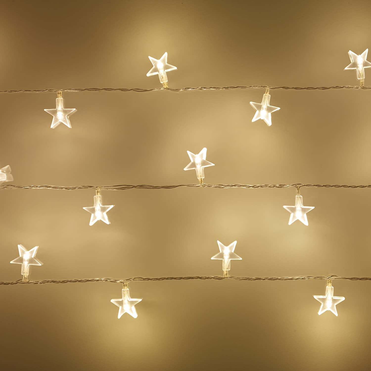 Bedroom ceiling lights stars - Indoor Star Fairy Lights With 30 Warm White Leds By Lights4fun Amazon Co Uk Kitchen Home