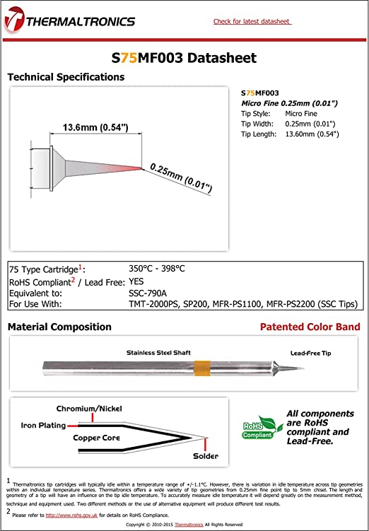 NEW Thermaltronics S75MF003 Metcal SSC-790A Soldering Tip Micro Fine 0.25mm