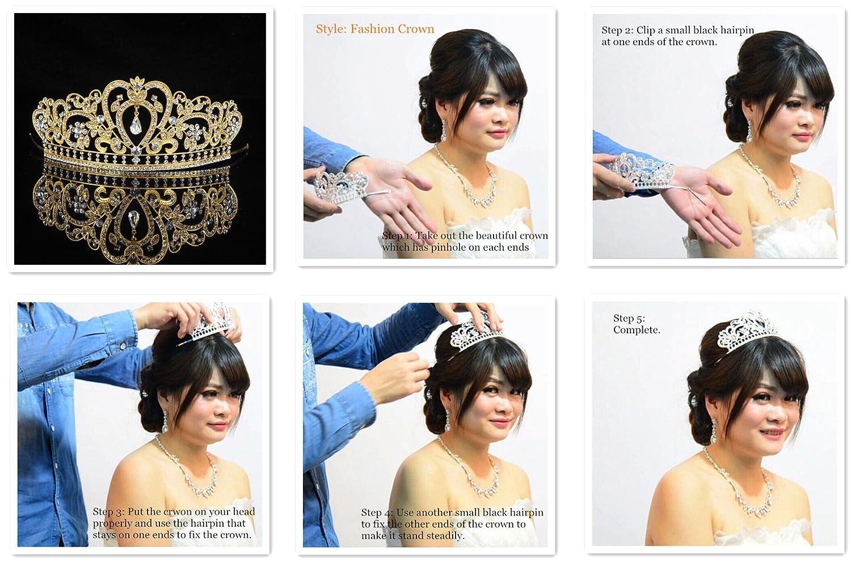 Amazon.com : Topwedding Crystal Rhinestone Bridal Headpiece Pageant ...