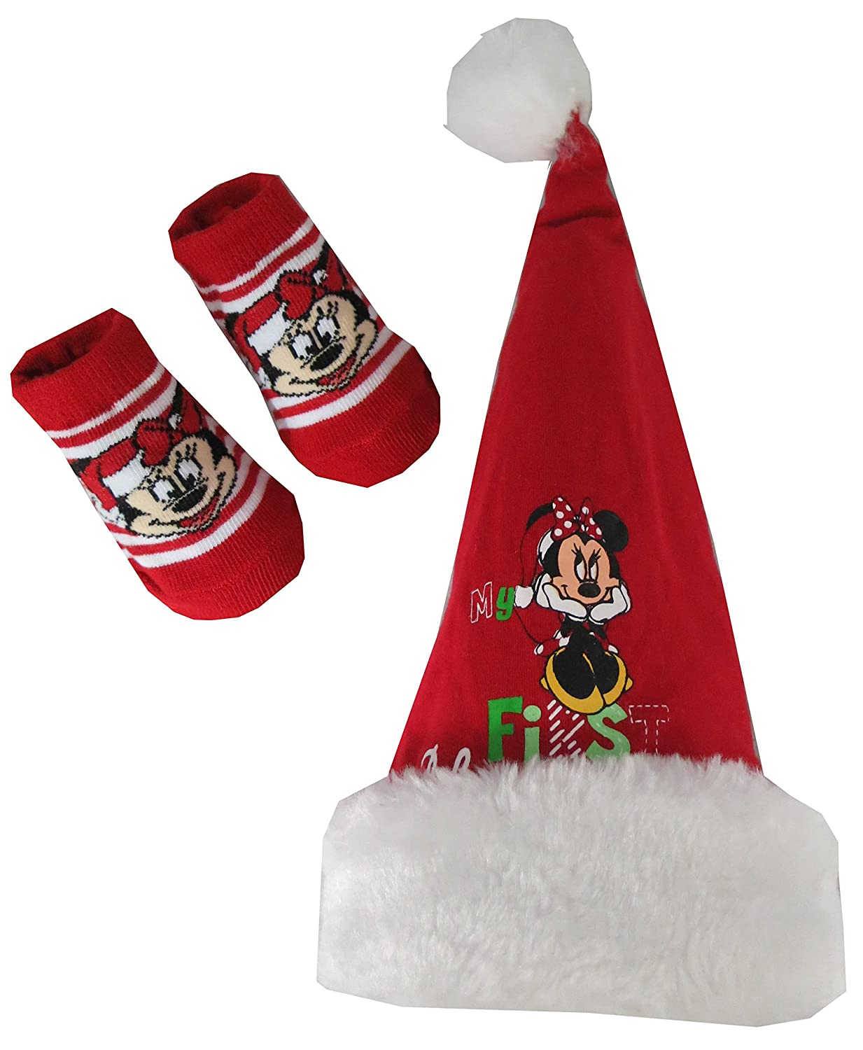 Amazon: Disney Babygirls My First Christmas Minnie Mouse Hat And Socks  Set: Clothing