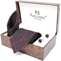 Kanthlangot Men's Jacquard Red Kaleji Pattern Tie Pocket Square and Maroon Cufflinks Set (Free Size)