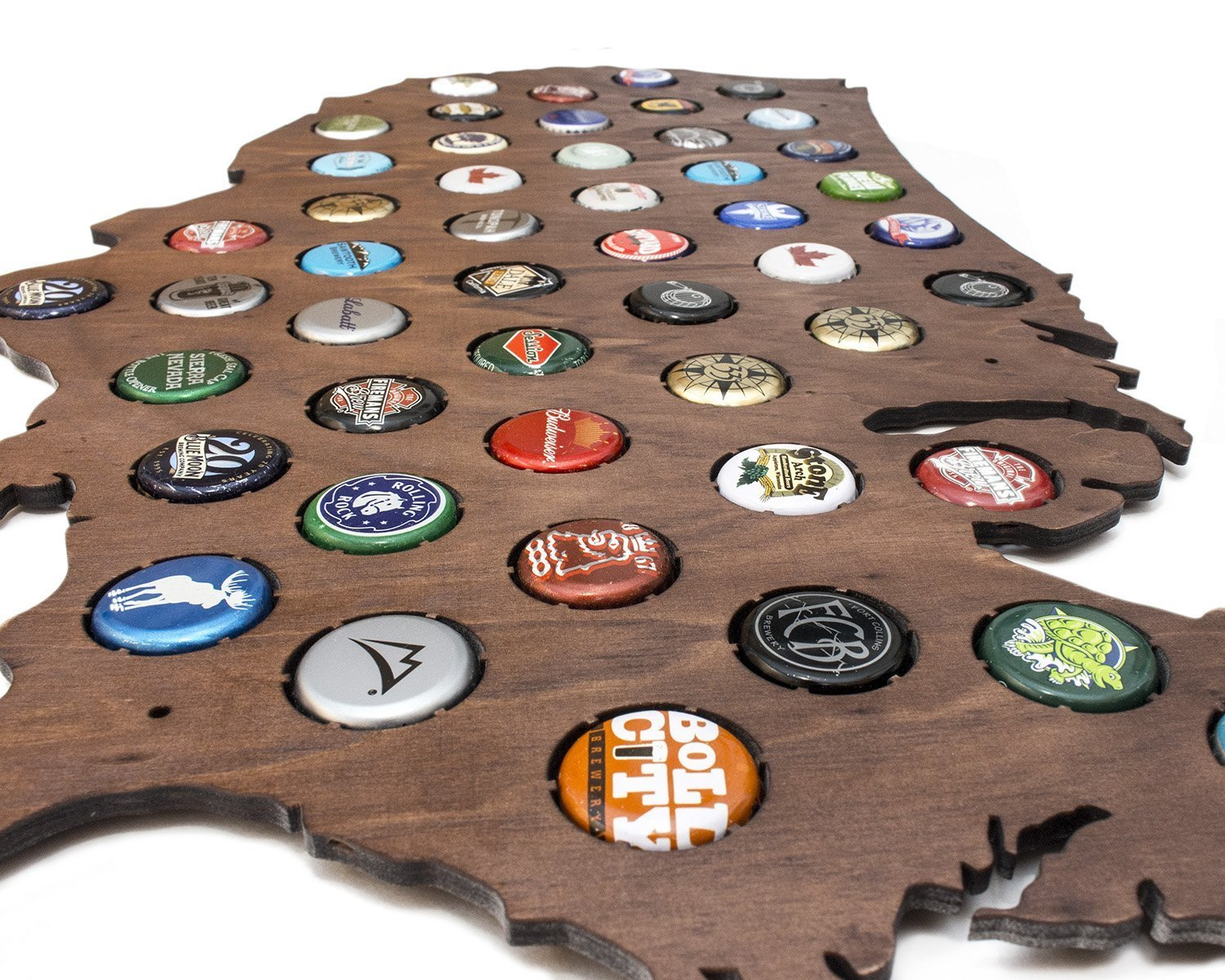 Amazoncom USA Beer Cap Map With Dark Stain Craft Beer Cap - Us map dark