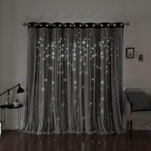 """Aurora Home Star Punch Tulle Overlay Blackout Curtain Panel Pair Dark Grey 52"""" W x 84"""" L 84 Inches"""