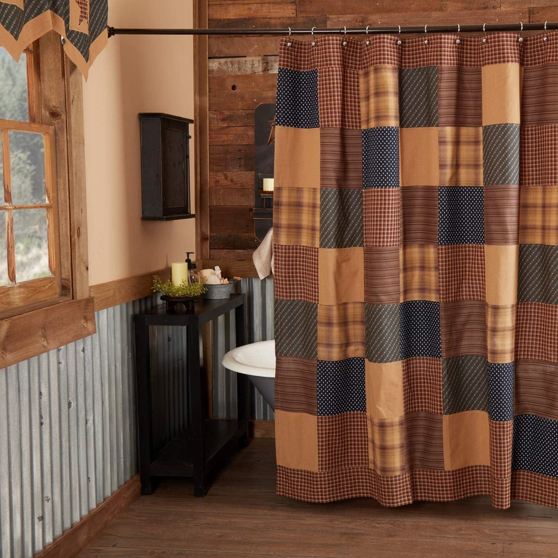 New Primitive Patriotic Patch Americana Patchwork Quilt Fabric Shower Curtain