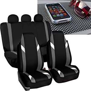 FH Group FB133115 Full Set Premium Modernistic Seat Covers Gray/Black with FH1002 Non-Slip Dash Pad- Fit Most Car, Truck, SUV, or Van