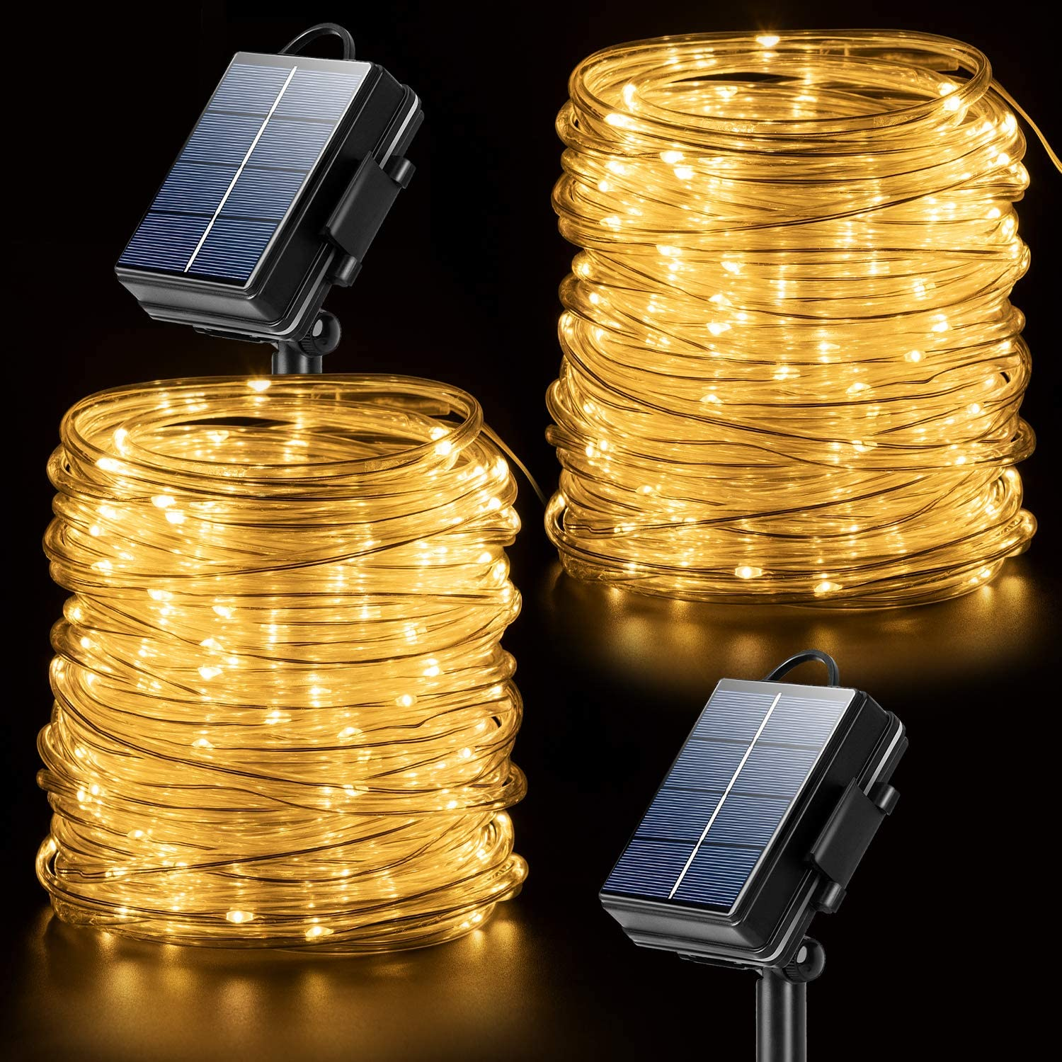 Amazon Com Solar Rope Lights Outdoor String Lights 2 Pack 65 6ft 20m 200 Led Waterproof Solar Rope Tube For Garden Fence Yard Party Wedding Christmas Tree Décor Home Kitchen