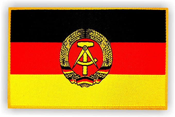 2 X Flagge Der Deutschen Demokratischen Republik Ddr Als Aufbügler Ca 8cm X 5cm Mit Klebe Rückseite Für Textilien Deutschland Patch Aufnäher Aufbügler Aufbügeln Bekleidung