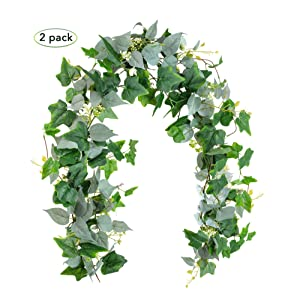 Artificial Greenery Garlands, Fake Vines - Pack of 2 - 6FT Faux Green Garland Twig with Silver Silk Leaves and White Flowers and 5.6FT Ivy Green Leaves String, Decorative Vines Table Runner Garland