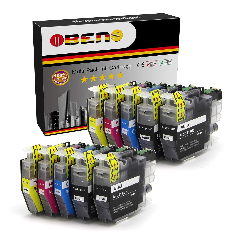 OBENO - 2 Sets 2 Bk - LC3211 LC3213 Paquete de 10 cartuchos de tinta Compatibles para Brother LC3211 MFC-J890DW, MFC-J895DW, DCP-J772DW, DCP-J774DW, ...