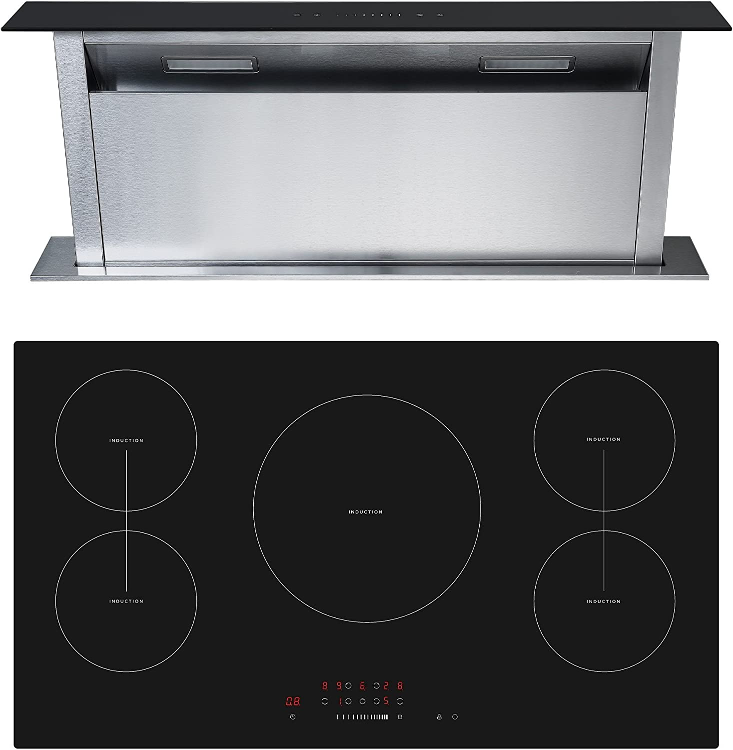 Cookology Cit901 Cdd900bk 90cm Induction Hob Downdraft Extractor Fan Pack Amazon Co Uk Large Appliances
