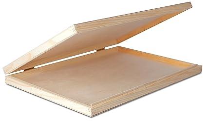A4 Caja Madera para Decorar | con Tapa y Cerradura | Decoracion Almacenaje Herramiente Papel Carta