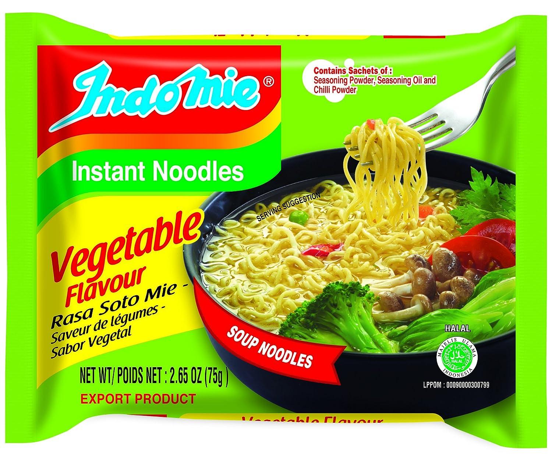 Indomie Instant Noodle Soup Vegetable Flavour , Vegetable, 79.5 Ounce(Pack of30)