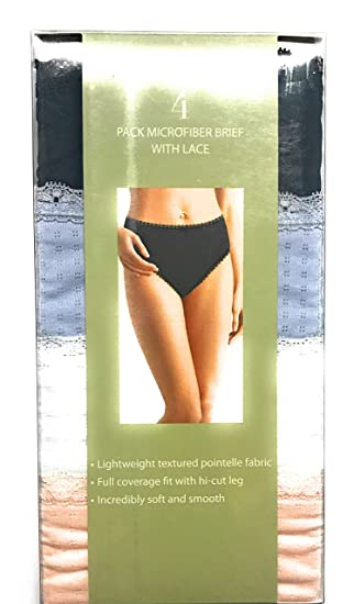 37c89a0dbfb Karen Neuburger Microfiber Brief with Lace 4 Pack Bright (Black ...