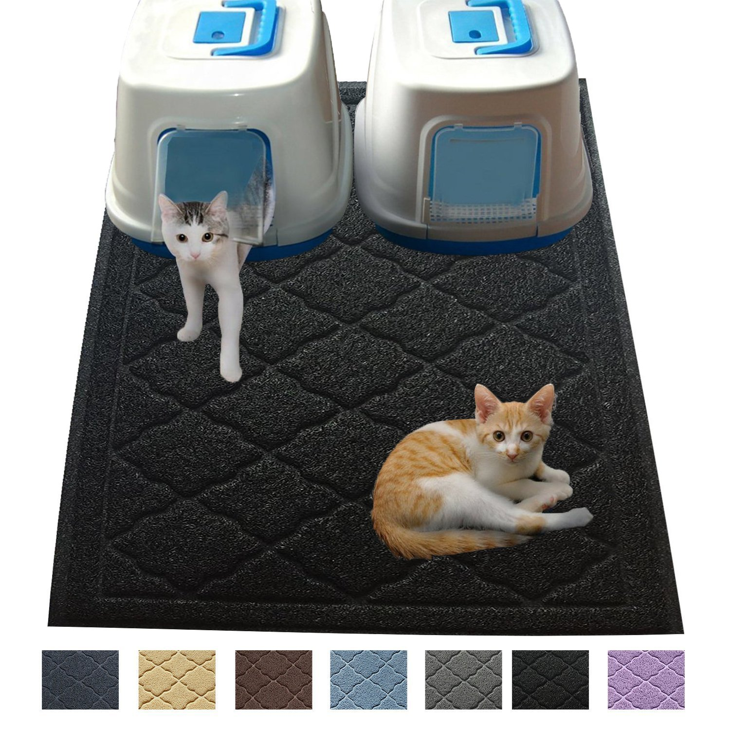 Black Jumbo Litter Mat 47  x 36  Cat Litter Mat Traps Messes, Easy Clean, Durable, Phthalate Free, Litter Box Mat with Scatter Control Soft on Kitty Paws