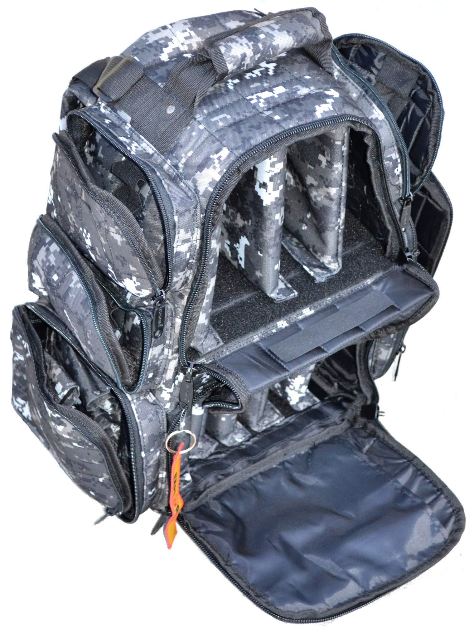 Backpack + Range Bag with Large Padded Deluxe Tactical Divider and 9 Clip Mag Holder - Rangemaster Gear Bag Explorer (Black Camo) by EXPLORER