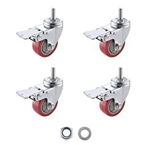 "SungMi 4 Pack 3"" Heavy Duty Caster Wheels PVC Threaded Stem Swivel Casters with 360 Degree Blue Wheels (4 with Brakes) Nuts Included SM-AMS-240008"