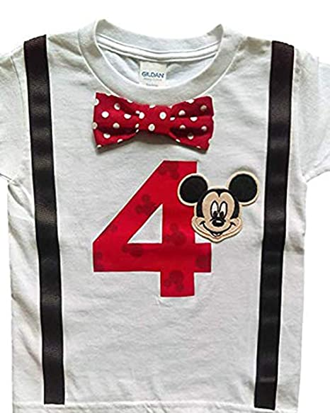 Amazon.com: 4th cumpleaños Camisa Niños Mickey Mouse Tee ...
