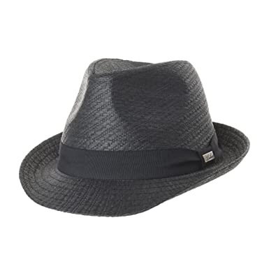 564b7739 WITHMOONS Fedora Hat Paper Straw Banded Summer Cool SL6689 (Black ...