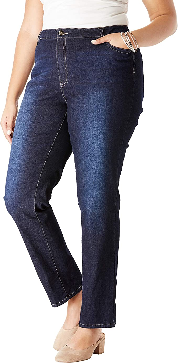 Roamans Womens Plus Size Bootcut Jean with Invisible Stretch