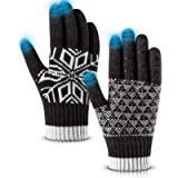 Pvendor Winter Gloves Touch Screen Warm Knit Gloves, Soft Wool Lining Elastic Cuff Gloves for Running, Anti-Slip Rubber…