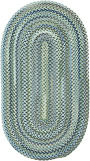 product image for Capel Rugs Manchester Light Blue 8' x 11' Oval Braided Rug