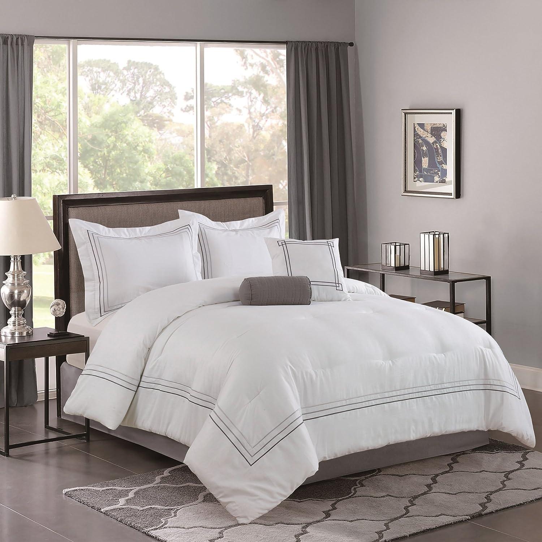 Amazon Com Bellagio Home 5 Piece Comforter Set Queen White