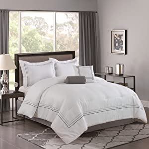 Bellagio Home 5 Piece Comforter Set, Queen, White, Gray