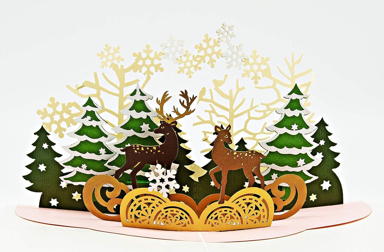 Weihnachtsgrüße Plattdeutsch.Besinnliche Weihnachtskarte Mit Extra Seite Für Weihnachtsgrüße Einzige 3 Seitige Klappkarte Festliche 3d Pop Up Karte Mit Rentier Gut