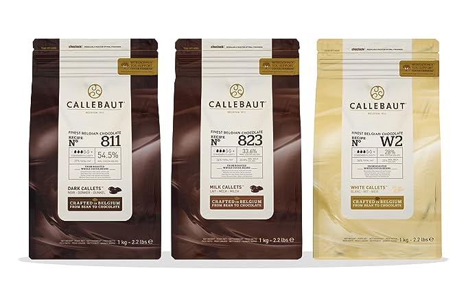 Callebaut 3 x 1kg Bundle - Cobertura de Chocolate con Leche, Negro & Blanco Belga
