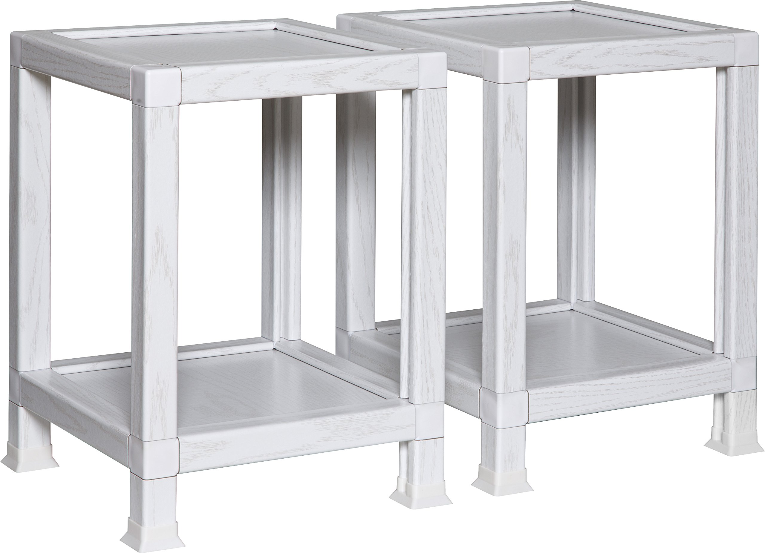OneSpace 100% Recycled Paper End Tables, White (Set of 2)