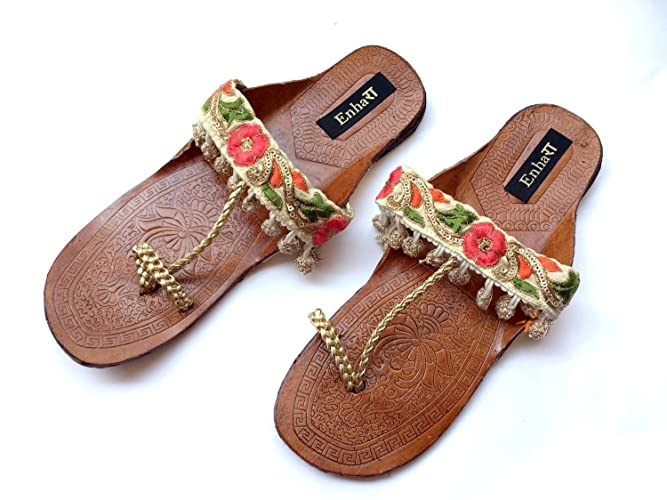 fc4333056422f7 Flower Hand Embroidered Kolhapuri Chappals with Sequins and Rose Gold  Balls