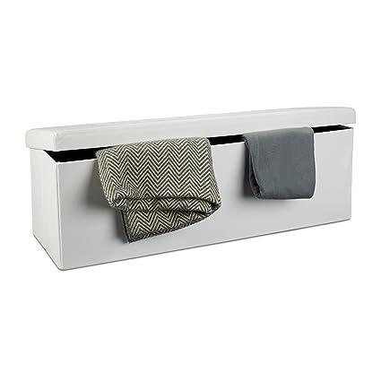 Relaxdays Banco plegable con espacio de almacenamiento hecho de ...