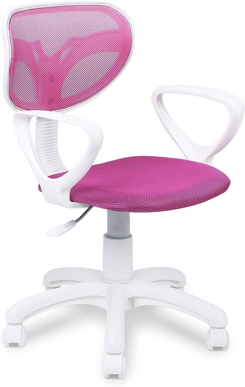 Silla de Escritorio giratoria, Silla Juvenil de Oficina, Color Rosa, Medidas: 54 cm (Ancho) x 54 cm (Fondo) x 93-105 cm (Alto)