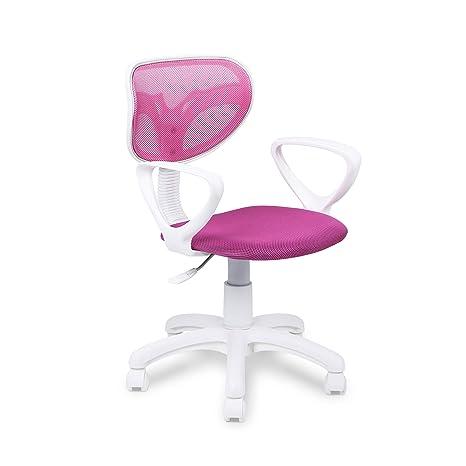 Silla de oficina giratoria, silla Touch estudio con brazos estructura  blanca, color Rosa Fucsia