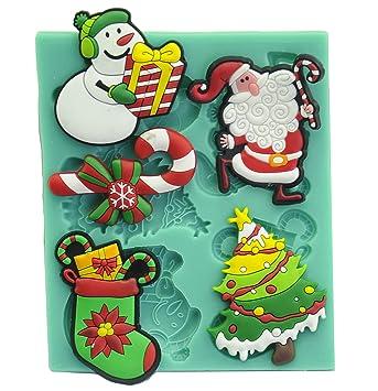 xmas Collection Candy Fondant Chocolate molde para decoración de pasteles, Cupcakes, manualidades, decorar